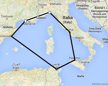 Morze Śródziemne - trasa